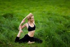 Mooie yogazitting in hout Royalty-vrije Stock Fotografie