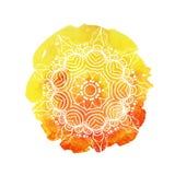 Mooie zachte waterverfachtergrond met bloemenornament Elegante vectorillustratie Stock Fotografie