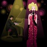 Mooie zangerdame en pianist op stadium Stock Foto's