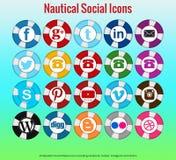 20 mooie zeevaart sociale media pictogrammen Royalty-vrije Stock Afbeelding