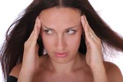 Mooie zenuwachtige vrouw Stock Foto's