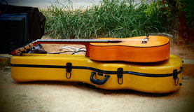 Mooie zonnestraal elektrische gitaar stock foto