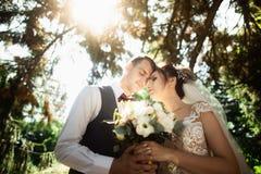 Mooie zonnige dag Huwelijkspaar het stellen op de achtergrond van aard stock afbeelding