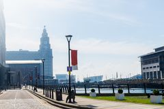Mooie zonnige dag in Liverpool, het UK, verschillende meningen van CIT stock afbeelding