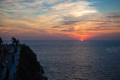 Mooie zonsondergang bij quebrada van acapulcola Stock Foto