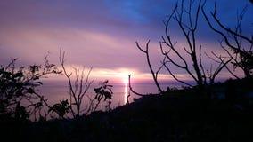 Mooie zonsondergang boven overzees dichtbij piran Royalty-vrije Stock Afbeelding