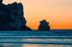 Mooie Zonsondergang en Morro-Rots royalty-vrije stock afbeeldingen