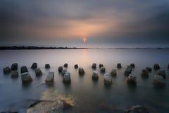 Mooie zonsondergang en zonsopgang Royalty-vrije Stock Afbeeldingen