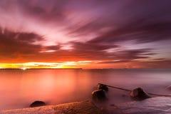Mooie zonsondergang en zonsopgang Stock Foto