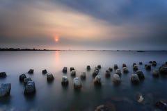Mooie zonsondergang en zonsopgang Stock Afbeelding