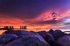 Mooie zonsondergang en zonsopgang Stock Fotografie