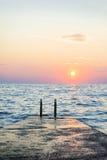 Mooie zonsondergang in Istria Stock Foto