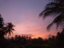 Mooie zonsondergang in Kulonprogo, Yogyakarta, Indonesië stock afbeelding