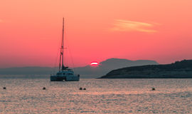 Mooie zonsondergang in Magaluf Mallorca Stock Foto's