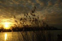 Mooie zonsondergang met fantastische kleuren Stock Foto's