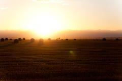 Mooie zonsondergang met sommige balen van hooi Royalty-vrije Stock Foto's