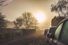 Mooie zonsondergang in Normandië stock afbeeldingen