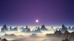 Mooie Zonsondergang op een Vreemde Planeet stock video