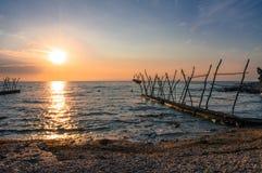 Mooie zonsondergang over Adriatische overzees in Kroatië Royalty-vrije Stock Afbeelding