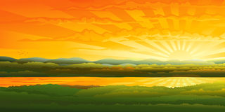 Mooie zonsondergang over een rivier stock illustratie