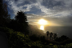 Mooie zonsondergang over het tropische eiland Tenerife, Canarische Eilanden royalty-vrije stock foto's