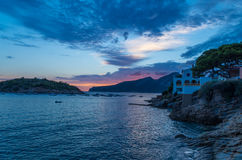 Mooie zonsondergang in Sant-Iep bij gr. 221, Mallorca, Spanje Royalty-vrije Stock Afbeelding