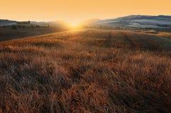 Mooie zonsondergang in Toscanië, Italië Stock Fotografie