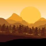Mooie zonsondergang, Vectorillustratieslandschap Royalty-vrije Stock Foto