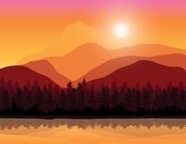 Mooie zonsondergang, Vectorillustratieslandschap Royalty-vrije Stock Afbeelding
