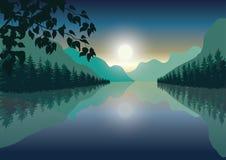 Mooie zonsondergang, Vectorillustratieslandschap Royalty-vrije Stock Foto's