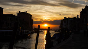 Mooie zonsondergang in Venetië, Italië - 2 Royalty-vrije Stock Afbeeldingen