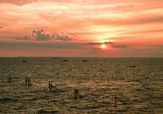 Mooie zonsondergang in Vung-Tau, Vietnam stock afbeeldingen