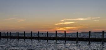 Mooie zonsondergang in Zeer belangrijke Largo, Florida Stock Fotografie