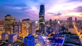 Mooie zonsondergangcityscape van de stadslandschap Thailand van Bangkok stock afbeelding