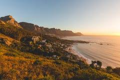 Mooie zonsondergangmening van de 12 Apostelen in Cape Town Royalty-vrije Stock Fotografie