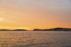 Mooie zonsondergangmening van Phokaia-FOCA, Izmir, Turkije stock foto