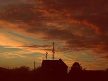 Mooie zonsondergangmeningen Stock Foto