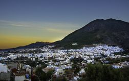 Mooie zonsopgang in Chefchaouen stock foto's