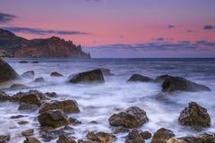 Mooie zonsopgang op het strand Stock Foto