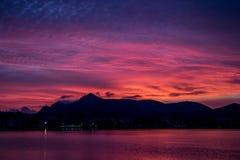 Mooie zonsopgang op het strand in Mallorca stock afbeelding