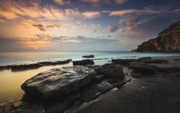 Mooie zonsopgang op het strand van Corral royalty-vrije stock afbeeldingen