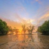 Mooie zonsopgang over het tropische strand, Thailand Stock Fotografie