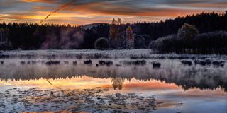 Mooie zonsopgang over meer Royalty-vrije Stock Afbeelding