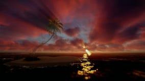 Mooie zonsopgang over tropische eiland en oceaan, godrays royalty-vrije illustratie