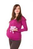 Mooie zwangere die vrouw - over een witte achtergrond wordt geïsoleerdn Royalty-vrije Stock Afbeeldingen