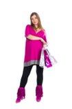 Mooie zwangere vrouw met verpakkingszakken Stock Foto's