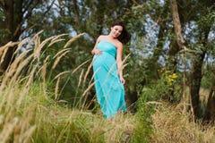 Mooie zwangere vrouw in openlucht stock afbeelding