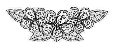 Mooie zwart-witte bloem, handtekening Stock Fotografie