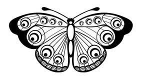 Mooie zwart-witte die vlinder op wit wordt geïsoleerde Royalty-vrije Stock Afbeelding