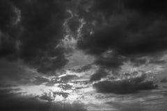 Mooie zwart-witte zonsondergang Royalty-vrije Stock Fotografie